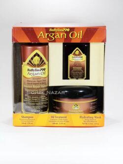 Pack Argan Oil BABYLISSPRO. Shampoo, Aceite y Mascara.