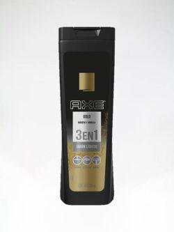 Jabón Liquido AXE Gold Madera y Vainilla 3 en 1.